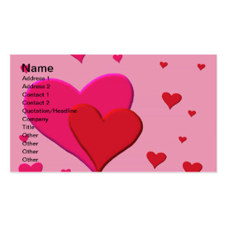 Red and Pink Valentine hearts Business Card Templates