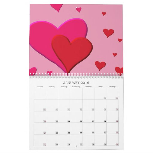 Red and Pink Valentine hearts Calendar