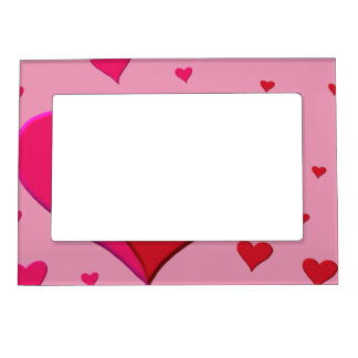 Red and Pink Valentine hearts Photo Frame Magnets