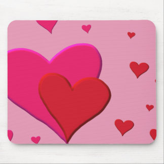 Red and Pink Valentine hearts Mouse Pad