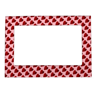 Red and pink Valentines Day hearts Magnetic Photo Frame