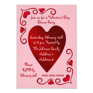 Red and pink Valentines Day hearts party template 5x7 Paper Invitation Card