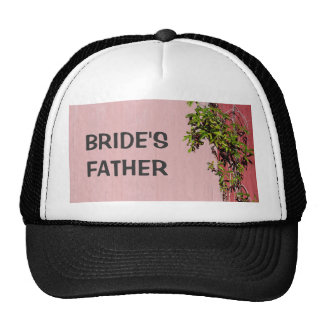 Red And Pink Wedding Brides Father In Black Trucker Hat