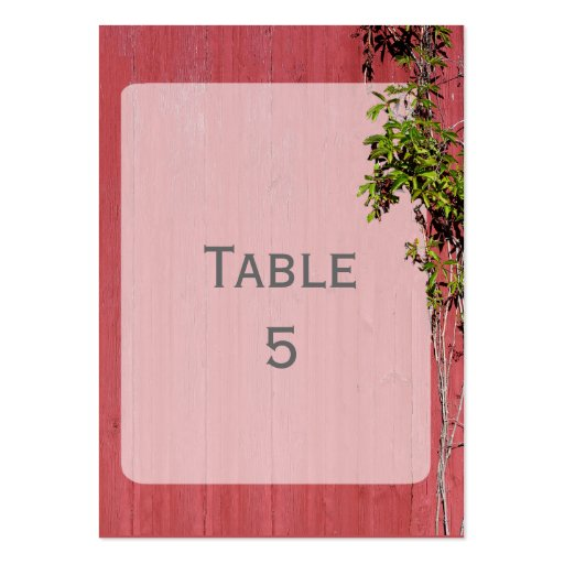 Red and pink wedding ivy bookmark table place business for Table 52 cards