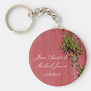 Red And Pink Wedding With Climbing Ivy Key Ring Basic Round Button Keychain at Zazzle