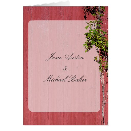 Red And Pink Wedding With Climbing Ivy Party Event Greeting Cards