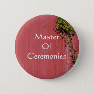 Red And Pink Wedding With Ivy Badge Name Tag Pinback Button