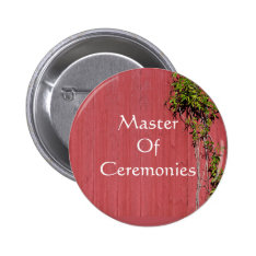 Red And Pink Wedding With Ivy Badge Name Tag Pinback Button at Zazzle