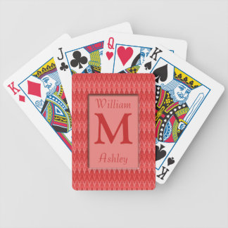 Red and Pink Zig Zag Monogrammed Playing Cards
