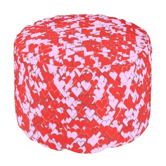 Red and Pinkish Hearts Round Pouf