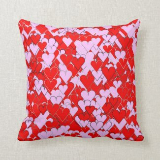 Red and Pinkish Hearts Throw Pillow