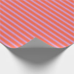 [ Thumbnail: Red and Plum Colored Lined Pattern Wrapping Paper ]