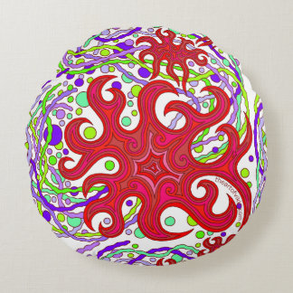 Red And Purple Astrum Vita Abstract Art Round Pillow