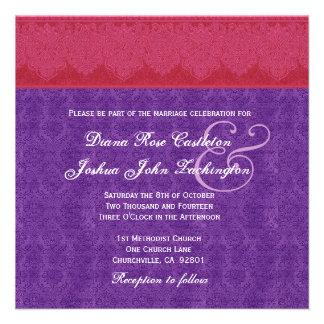 Red and Purple Damask Monogram Wedding V14 Personalized Invites