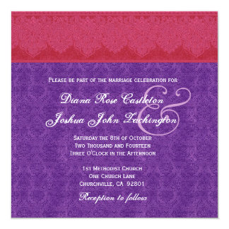 Red and Purple Damask Monogram Wedding V14 5.25x5.25 Square Paper Invitation Card