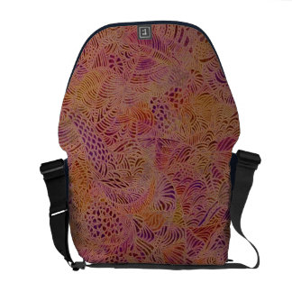 Red and Purple Festive Doodle Messenger Bag