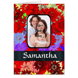 Red and purple floral pattern card