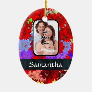 Red and purple floral pattern ceramic ornament