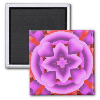 Red and Purple Hearts and Diamonds Kaleidoscope Magnet