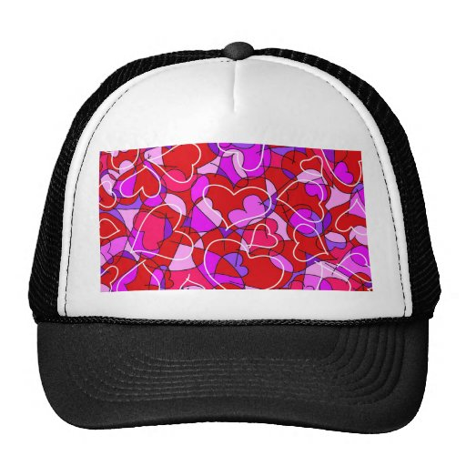 red and purple hearts trucker hat