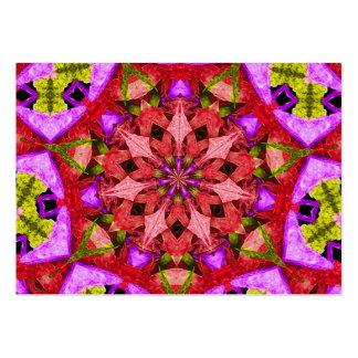Red and Purple Kaleidoscope Mandala Large Business Card