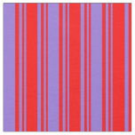 [ Thumbnail: Red and Purple Lines Pattern Fabric ]