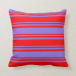 [ Thumbnail: Red and Purple Lines Pattern Throw Pillow ]
