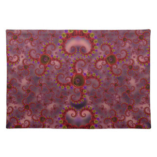 Red and Purple Rose Fractal Pattern Placemat