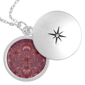 Red and Purple Rose Fractal Pattern Round Locket Necklace