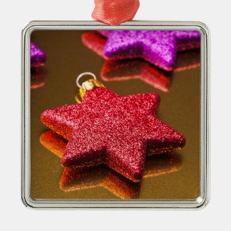 Red and Purple Shiny Christmas Stars Metal Ornament