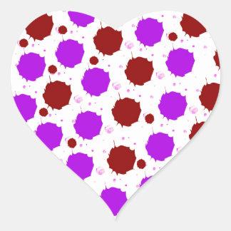 Red and Purple Splash Dots Heart Sticker