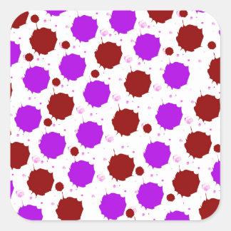 Red and Purple Splash Dots Square Sticker