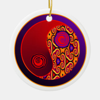 Red and Purple Swirls Yin Yang Ornament