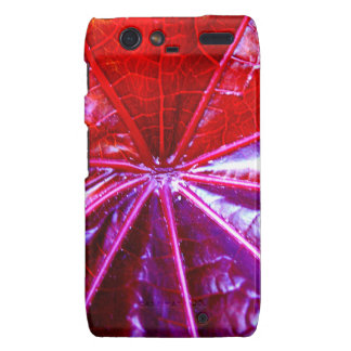 Red and Purple Tropical Castor Leaf Droid RAZR Covers