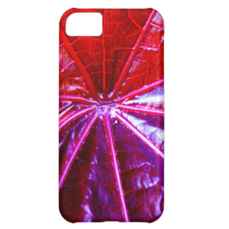 Red and Purple Tropical Castor Leaf Case For iPhone 5C