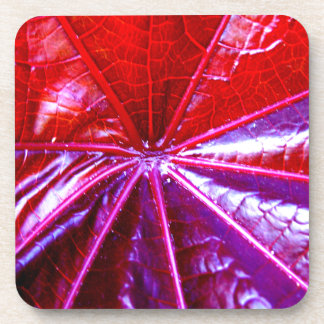Red and Purple Tropical Castor Leaf Drink Coaster