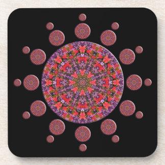 Red and Purple Tulip Mandala Fractal Drink Coaster