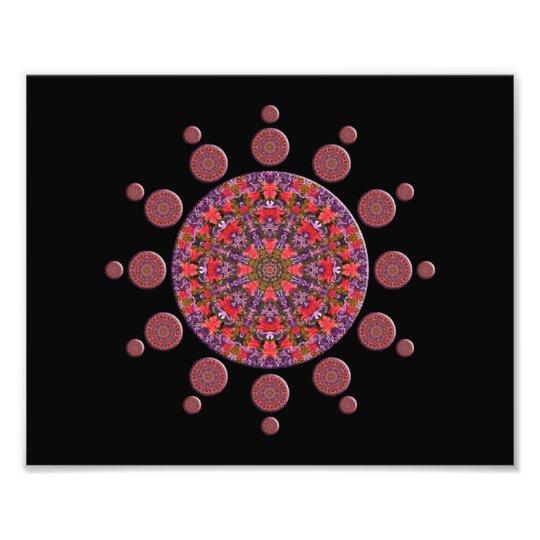 Red and Purple Tulip Mandala Fractal Photo Print