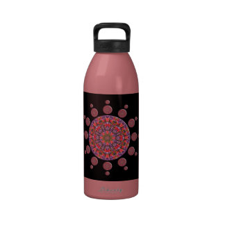 Red and Purple Tulip Mandala Fractal Reusable Water Bottles