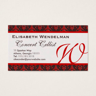 Red and Rich Brown Musician's Name Cards
