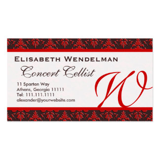 Red and Rich Brown Musician's Name Cards Business Card