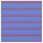 [ Thumbnail: Red and Royal Blue Pattern of Stripes Fabric ]