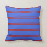 [ Thumbnail: Red and Royal Blue Pattern of Stripes Throw Pillow ]