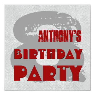 RED and SILVER 8th Birthday Party 8 Year Old V11H Card