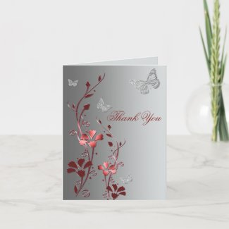 Red Butterfly Thank you cards