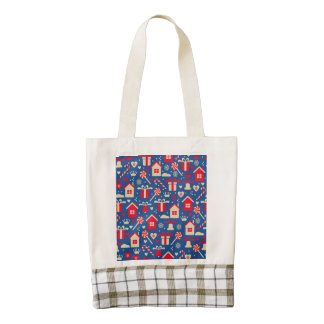 Red and Silver Christmas Candies and Gifts Pattern Zazzle HEART Tote Bag