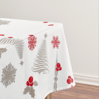 Red And Silver Christmas Cotton Tablecloth,52u0026quot;x70u0026quot; Tablecloth