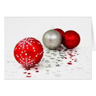 Red and Silver Christmas Decoration Balls Card