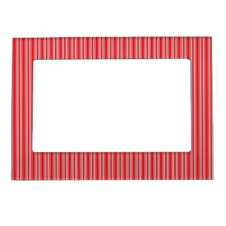 Red and Silver Christmas Stripes Magnetic Photo Frame