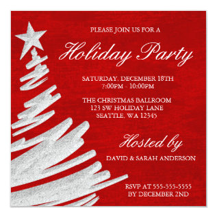Red and Silver Christmas Tree Holiday Party Card at Zazzle